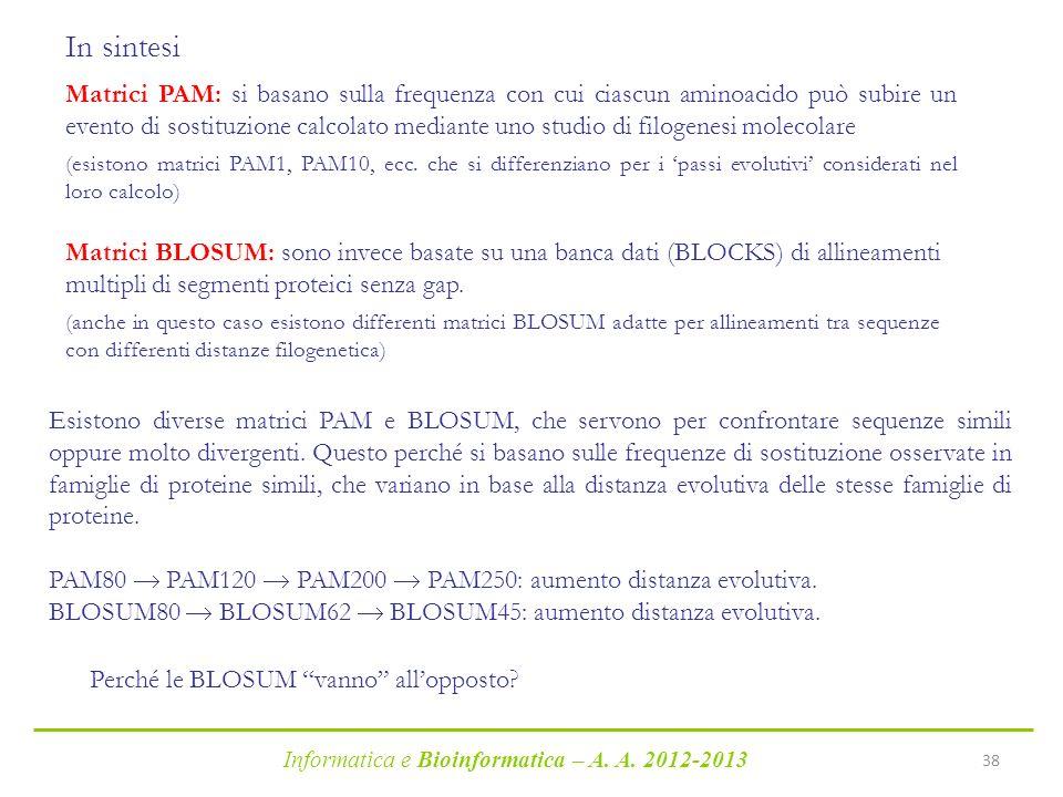 Informatica e Bioinformatica – A. A. 2012-2013 38 Matrici PAM: si basano sulla frequenza con cui ciascun aminoacido può subire un evento di sostituzio