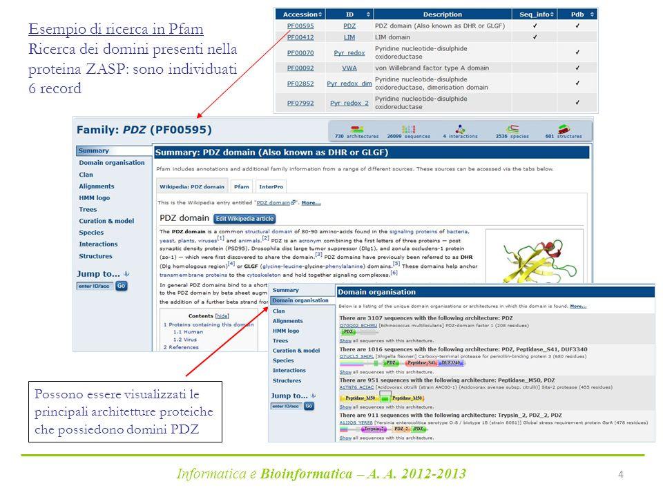 Informatica e Bioinformatica – A. A. 2012-2013 4 Esempio di ricerca in Pfam Ricerca dei domini presenti nella proteina ZASP: sono individuati 6 record