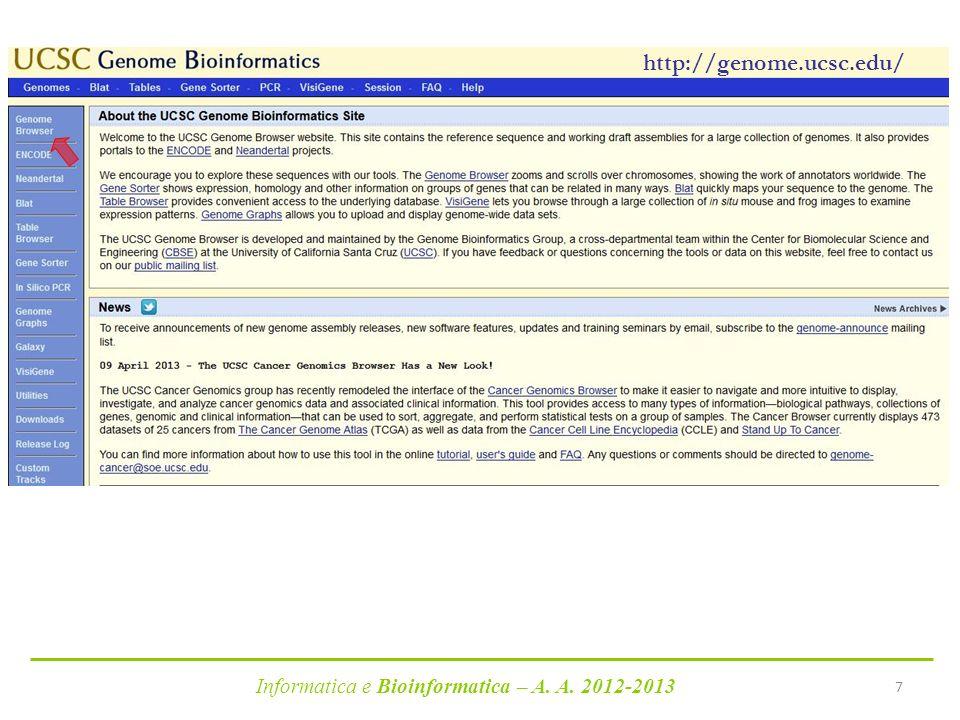 Informatica e Bioinformatica – A. A. 2012-2013 7 http://genome.ucsc.edu/