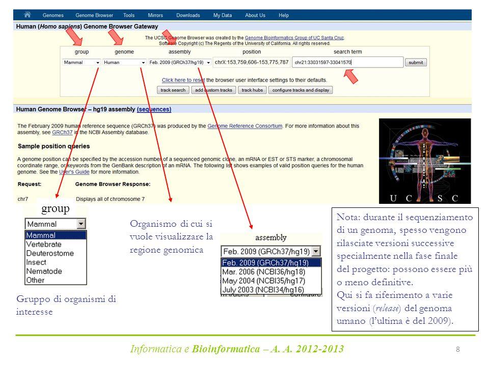Informatica e Bioinformatica – A. A. 2012-2013 8 Organismo di cui si vuole visualizzare la regione genomica Nota: durante il sequenziamento di un geno