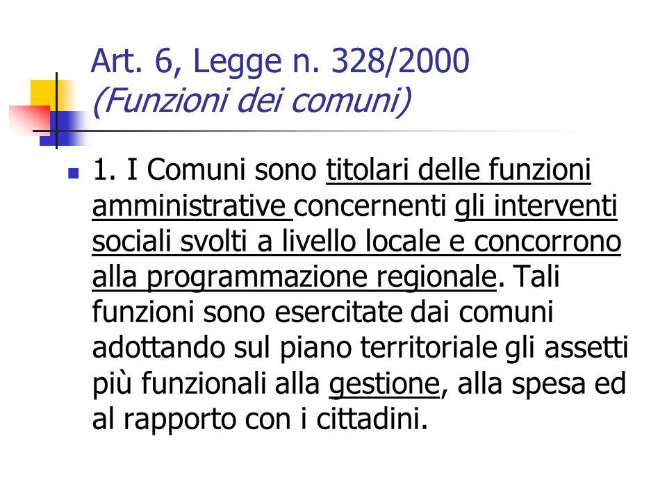 Art.6, Legge n. 328/2000 (Funzioni dei comuni) 1.