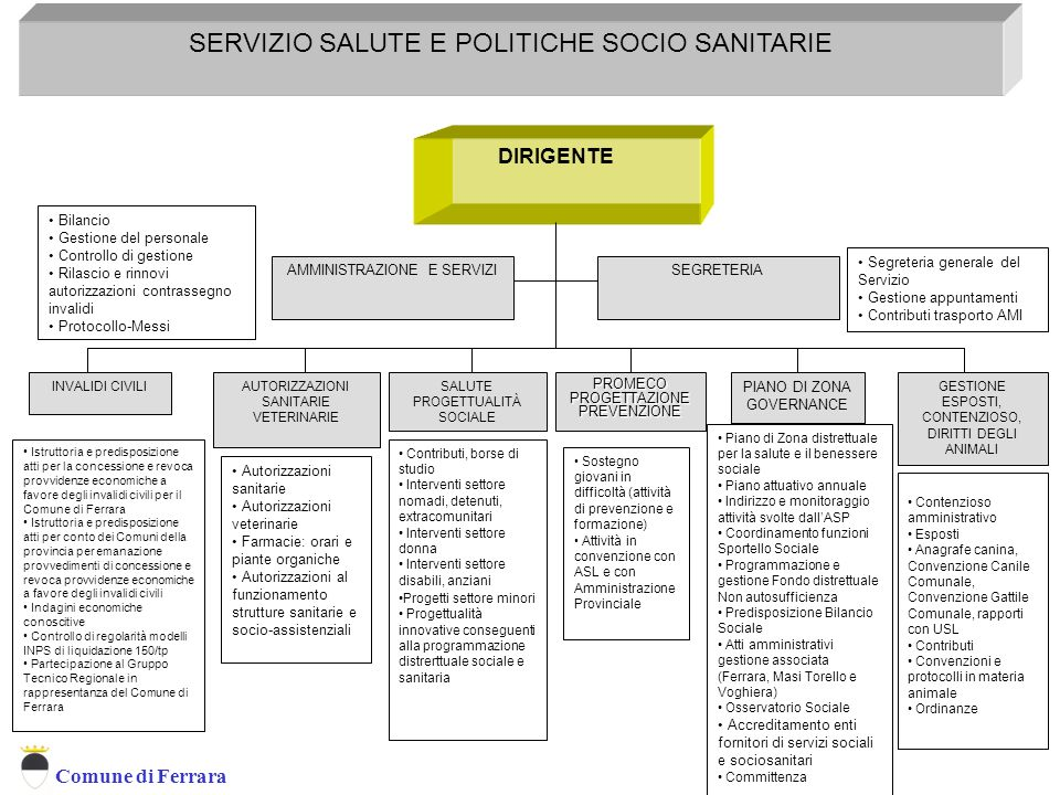 Comune di Ferrara DIRIGENTE AUTORIZZAZIONI SANITARIE VETERINARIE INVALIDI CIVILI SERVIZIO SALUTE E POLITICHE SOCIO SANITARIE AMMINISTRAZIONE E SERVIZI