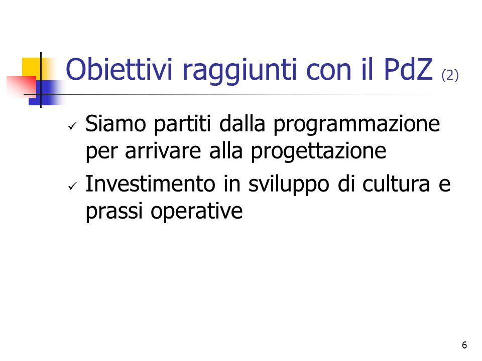 6 Obiettivi raggiunti con il PdZ (2) Siamo partiti dalla programmazione per arrivare alla progettazione Investimento in sviluppo di cultura e prassi operative