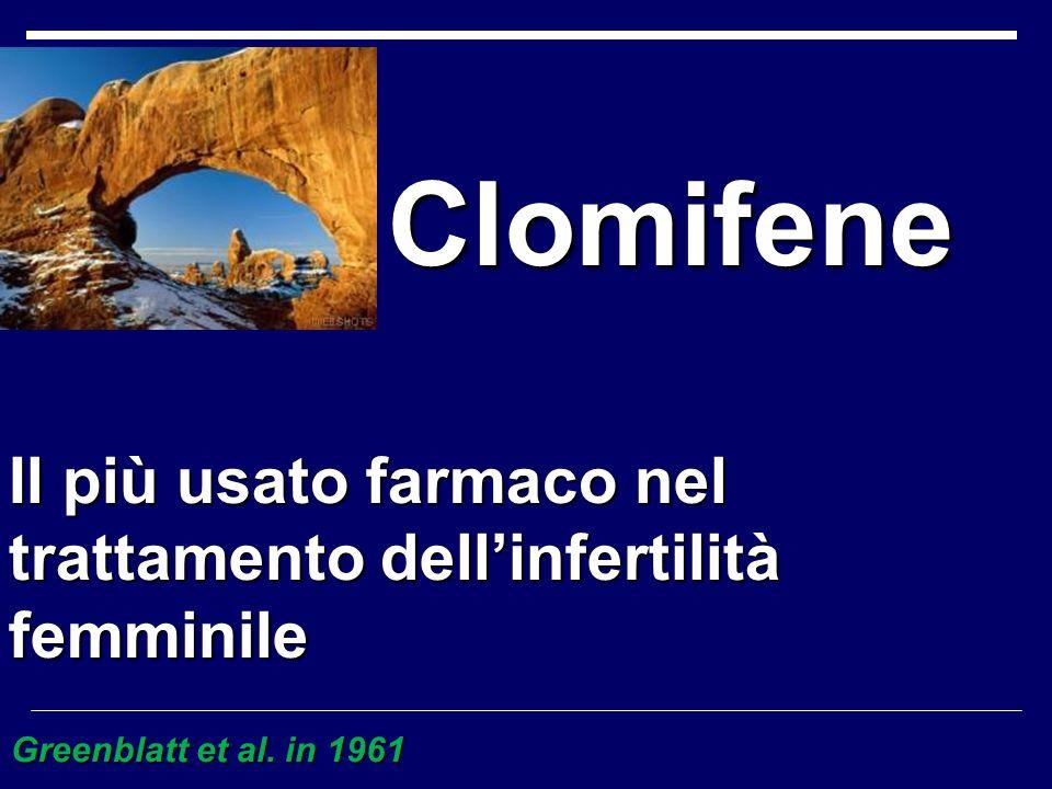 Clomifene Clomifene Greenblatt et al. in 1961 Il più usato farmaco nel trattamento dellinfertilità femminile