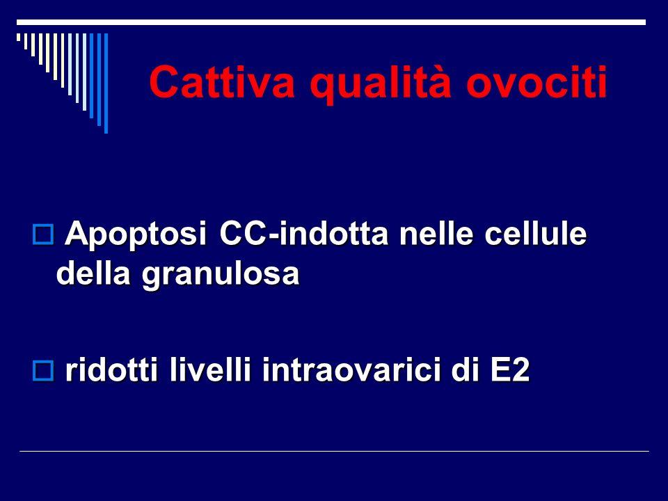 Cattiva qualità ovociti Apoptosi CC-indotta nelle cellule della granulosa Apoptosi CC-indotta nelle cellule della granulosa ridotti livelli intraovari