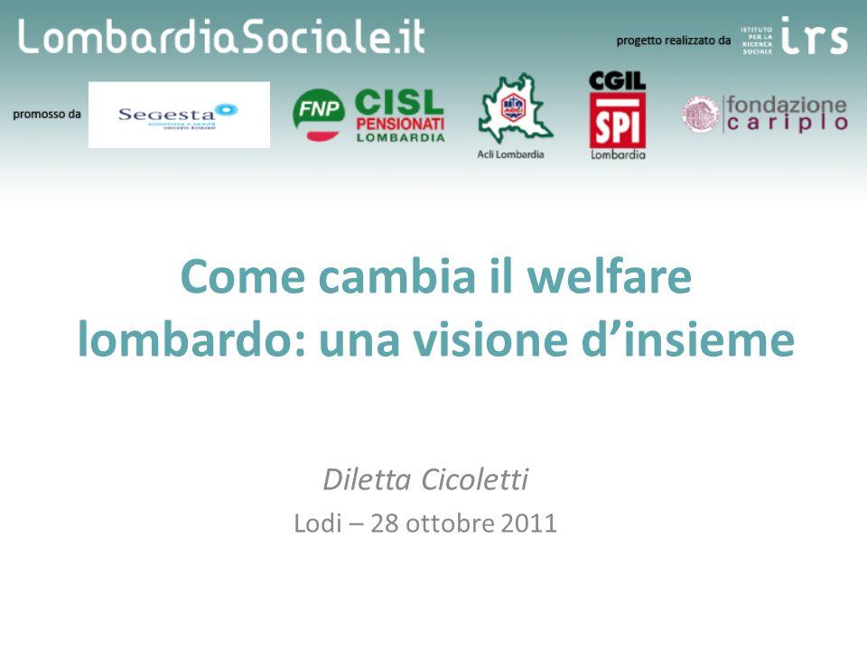 Come cambia il welfare lombardo: una visione dinsieme Diletta Cicoletti Lodi – 28 ottobre 2011 Specifiche convegno (titolo, data, luogo, ecc.) [una o due righe]