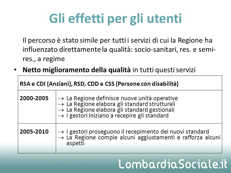 Il percorso è stato simile per tutti i servizi di cui la Regione ha influenzato direttamente la qualità: socio-sanitari, res.