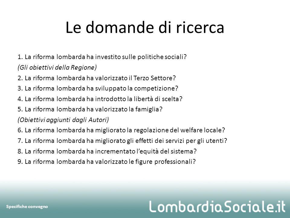 Le domande di ricerca 1. La riforma lombarda ha investito sulle politiche sociali.
