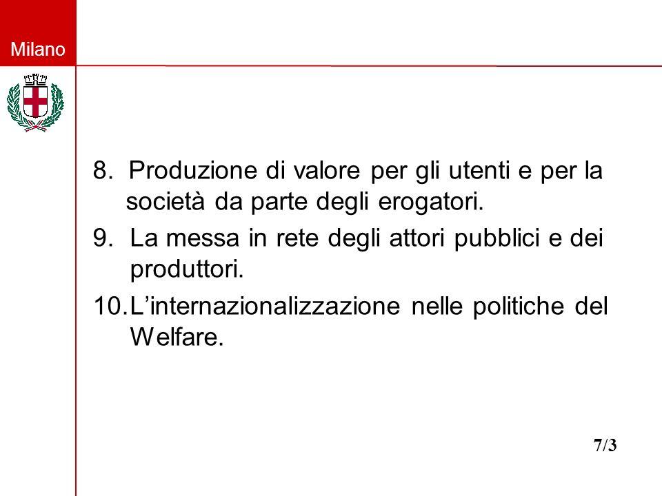 Milano 8. Produzione di valore per gli utenti e per la società da parte degli erogatori. 9.La messa in rete degli attori pubblici e dei produttori. 10
