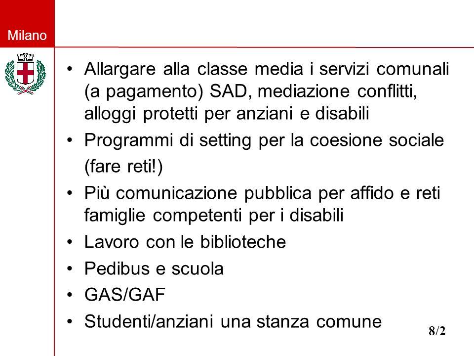 Milano Allargare alla classe media i servizi comunali (a pagamento) SAD, mediazione conflitti, alloggi protetti per anziani e disabili Programmi di se