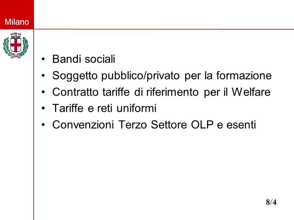 Milano Bandi sociali Soggetto pubblico/privato per la formazione Contratto tariffe di riferimento per il Welfare Tariffe e reti uniformi Convenzioni Terzo Settore OLP e esenti 8/4