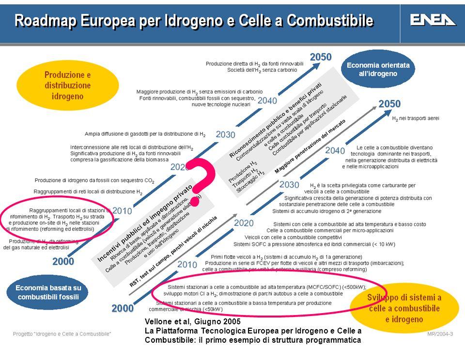 Vellone et al, Giugno 2005 La Piattaforma Tecnologica Europea per Idrogeno e Celle a Combustibile: il primo esempio di struttura programmatica ?