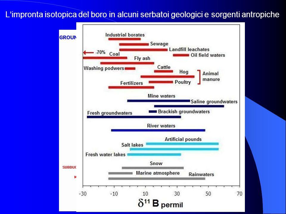 Limpronta isotopica del boro in alcuni serbatoi geologici e sorgenti antropiche