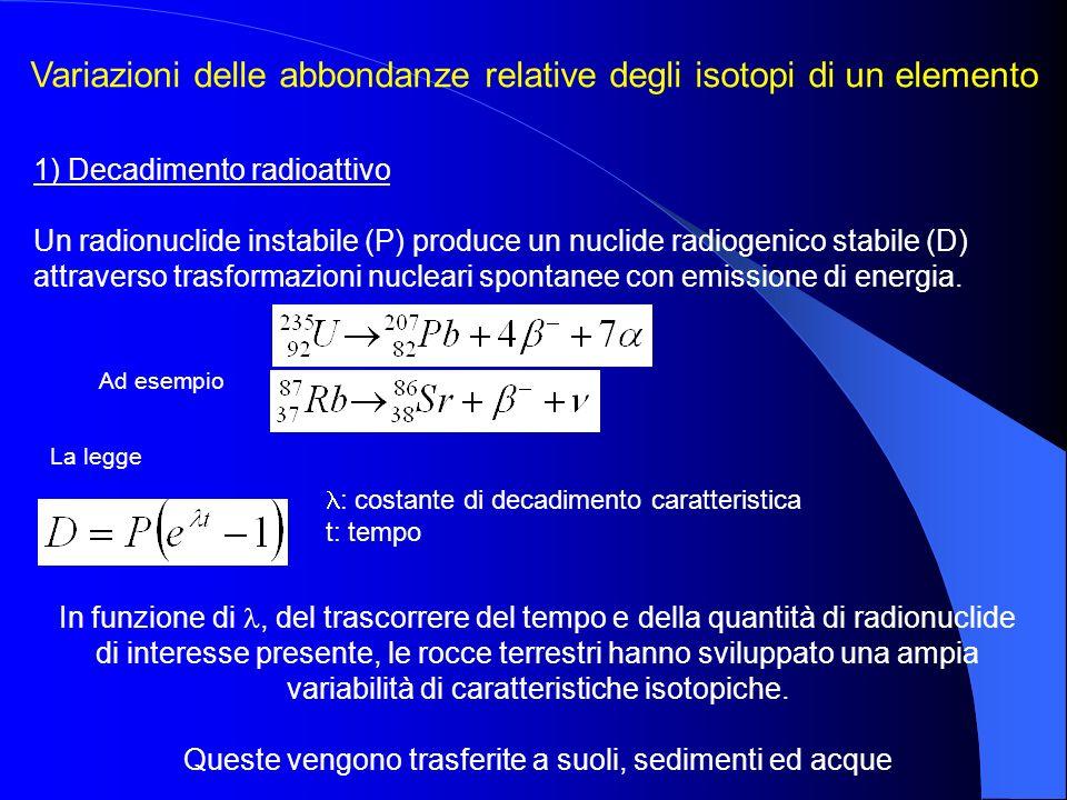 Variazioni delle abbondanze relative degli isotopi di un elemento 1) Decadimento radioattivo Un radionuclide instabile (P) produce un nuclide radiogen