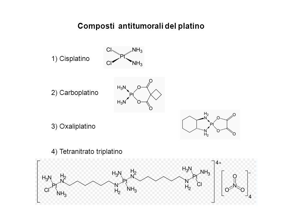 Composti antitumorali del platino 1) Cisplatino 2) Carboplatino 3) Oxaliplatino 4) Tetranitrato triplatino