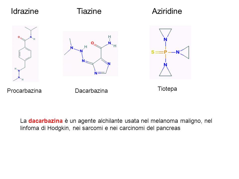 Idrazine Procarbazina Tiazine Dacarbazina Tiotepa Aziridine La dacarbazina è un agente alchilante usata nel melanoma maligno, nel linfoma di Hodgkin,