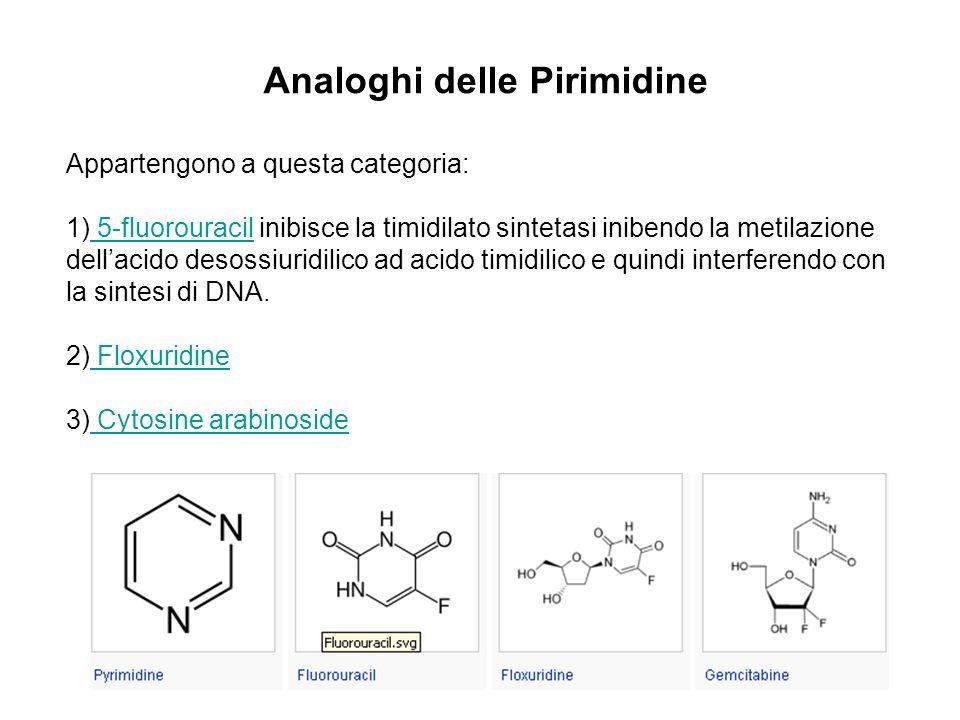 Analoghi delle Pirimidine Appartengono a questa categoria: 1) 5-fluorouracil inibisce la timidilato sintetasi inibendo la metilazione dellacido desoss