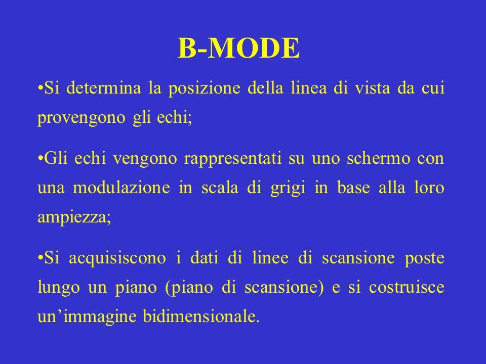 B-MODE Si determina la posizione della linea di vista da cui provengono gli echi; Gli echi vengono rappresentati su uno schermo con una modulazione in