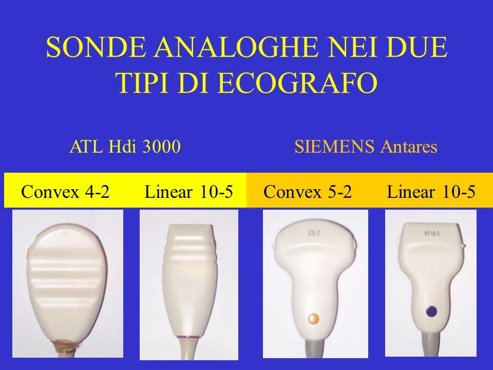 SONDE ANALOGHE NEI DUE TIPI DI ECOGRAFO ATL Hdi 3000SIEMENS Antares Convex 4-2Linear 10-5Convex 5-2Linear 10-5