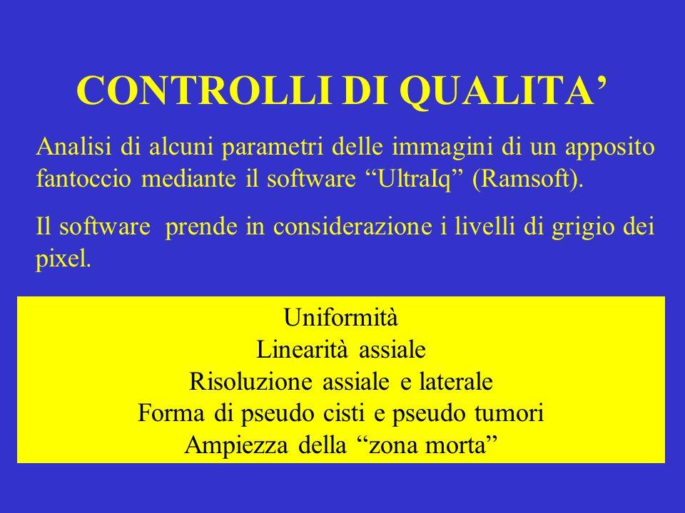 CONTROLLI DI QUALITA Analisi di alcuni parametri delle immagini di un apposito fantoccio mediante il software UltraIq (Ramsoft). Il software prende in