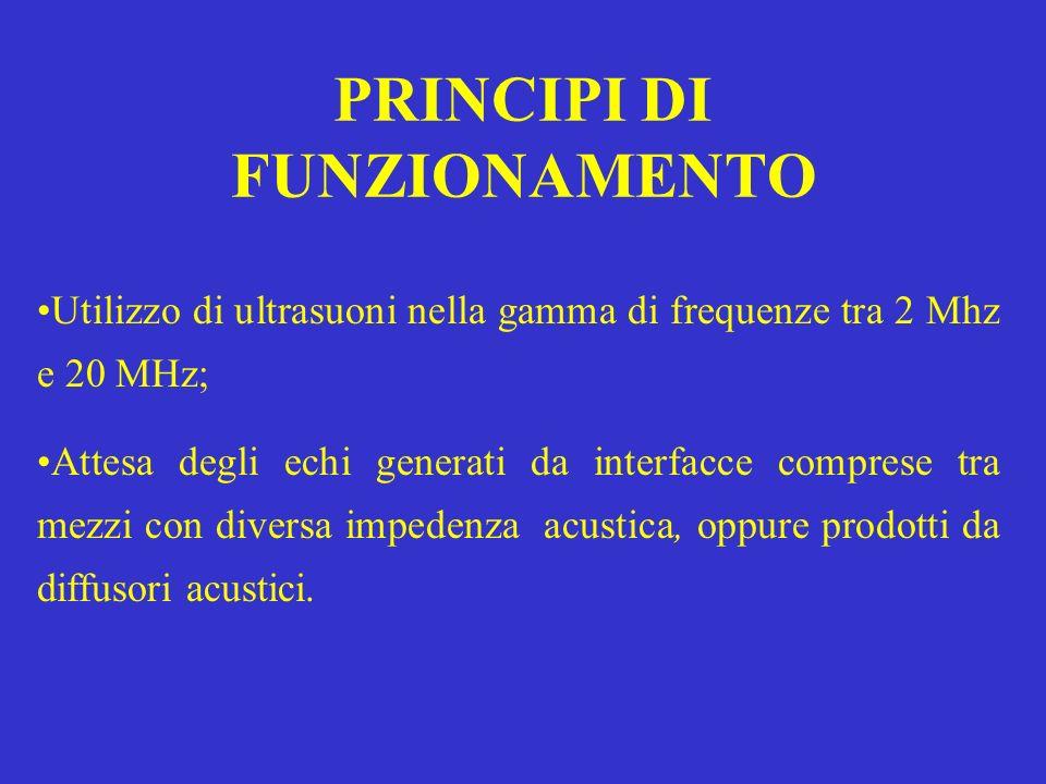 PRINCIPI DI FUNZIONAMENTO Utilizzo di ultrasuoni nella gamma di frequenze tra 2 Mhz e 20 MHz; Attesa degli echi generati da interfacce comprese tra me