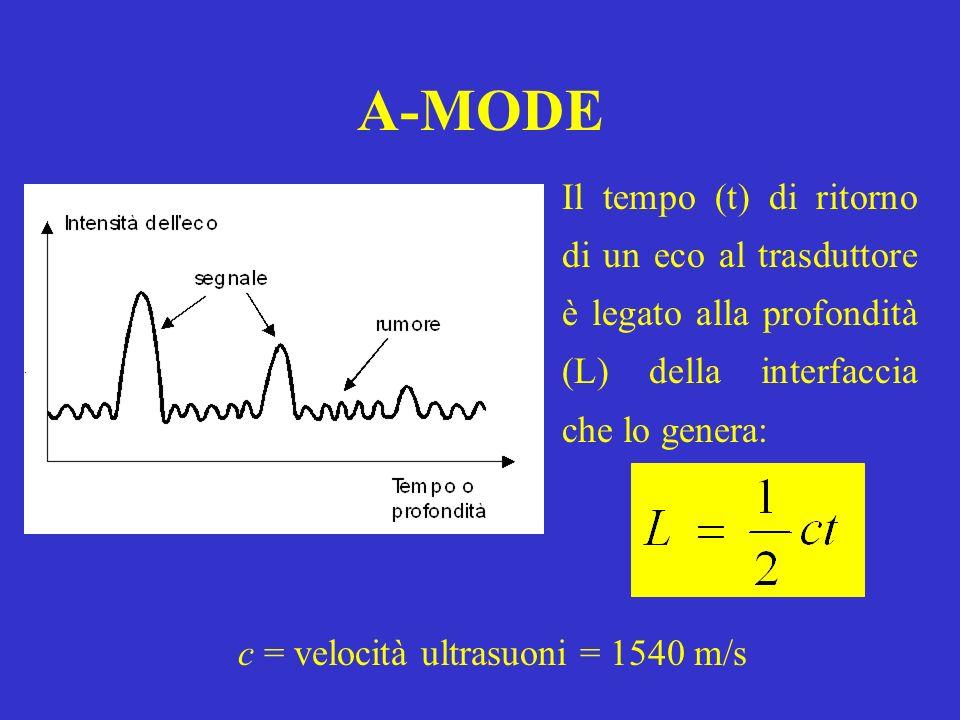 A-MODE Il tempo (t) di ritorno di un eco al trasduttore è legato alla profondità (L) della interfaccia che lo genera: c = velocità ultrasuoni = 1540 m