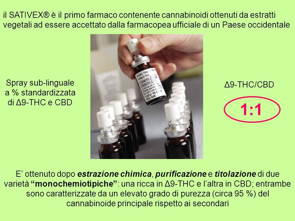 il SATIVEX® è il primo farmaco contenente cannabinoidi ottenuti da estratti vegetali ad essere accettato dalla farmacopea ufficiale di un Paese occide