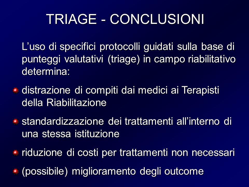 TRIAGE - CONCLUSIONI TRIAGE - CONCLUSIONI Luso di specifici protocolli guidati sulla base di punteggi valutativi (triage) in campo riabilitativo deter