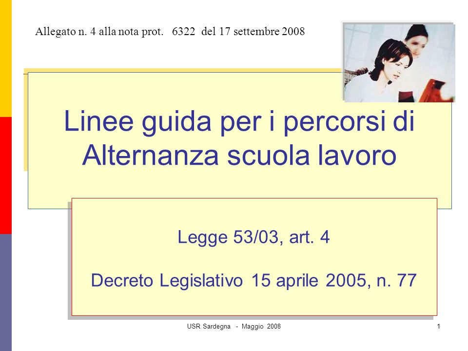 USR Sardegna - Maggio 20081 Linee guida per i percorsi di Alternanza scuola lavoro Legge 53/03, art.