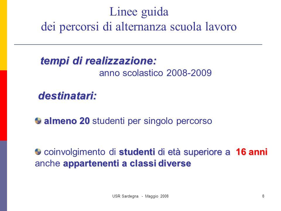 USR Sardegna - Maggio 20088 almeno 20 almeno 20 studenti per singolo percorso studenti di età superiore a 16 anni appartenenti a classi diverse coinvolgimento di studenti di età superiore a 16 anni anche appartenenti a classi diverse tempi di realizzazione: anno scolastico 2008-2009 Linee guida dei percorsi di alternanza scuola lavoro destinatari: