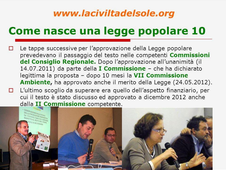 11 Come nasce una legge popolare 10 Le tappe successive per lapprovazione della Legge popolare prevedevano il passaggio del testo nelle competenti Commissioni del Consiglio Regionale.