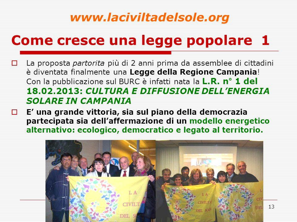 13 Come cresce una legge popolare 1 La proposta partorita più di 2 anni prima da assemblee di cittadini è diventata finalmente una Legge della Regione Campania.