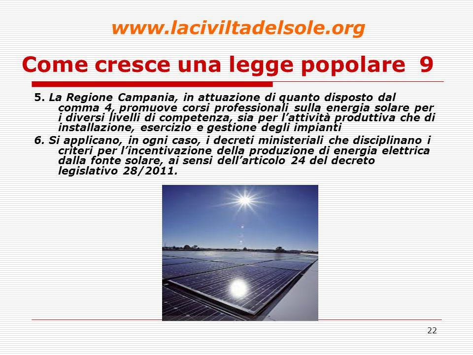 23 Come cresce una legge popolare 10 Art.9 - Mobilità ad energia solare 1.