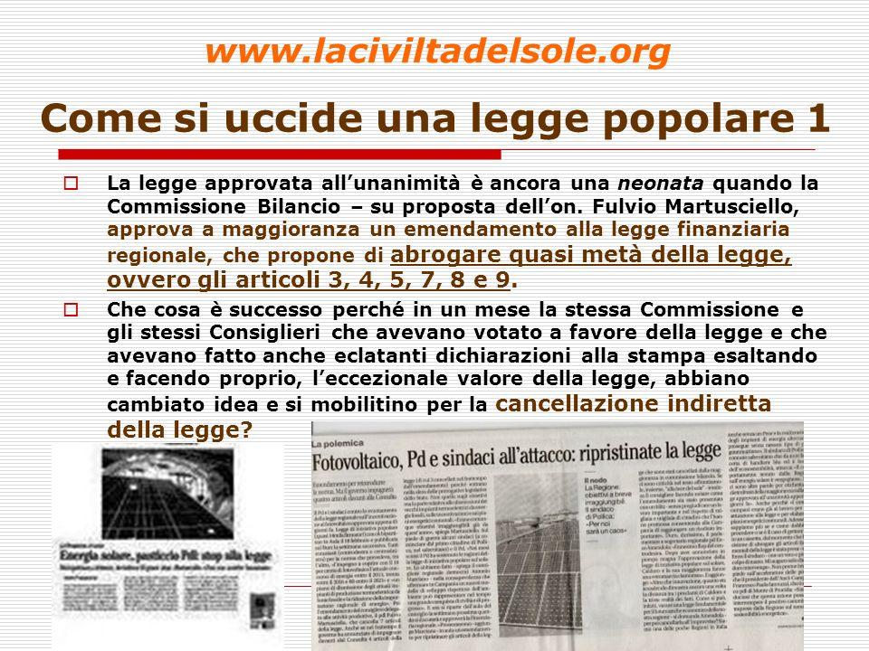 28 Come si uccide una legge popolare 2 Solo pochi giorni prima, il 14 marzo, il Comitato aveva concordato con ANCI Campania una linea di pubblicizzazione nei Comuni della Legge ed unipotesi di conferenza pubblica per la redazione dei Piani Solari Comunali.