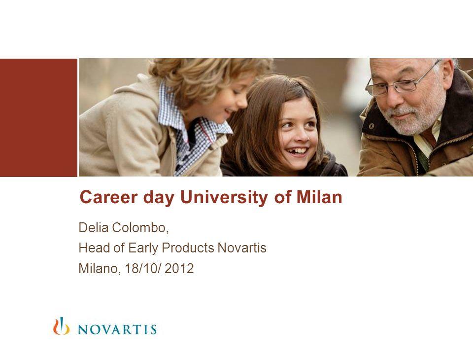 Career day University of Milan Delia Colombo, Head of Early Products Novartis Milano, 18/10/ 2012