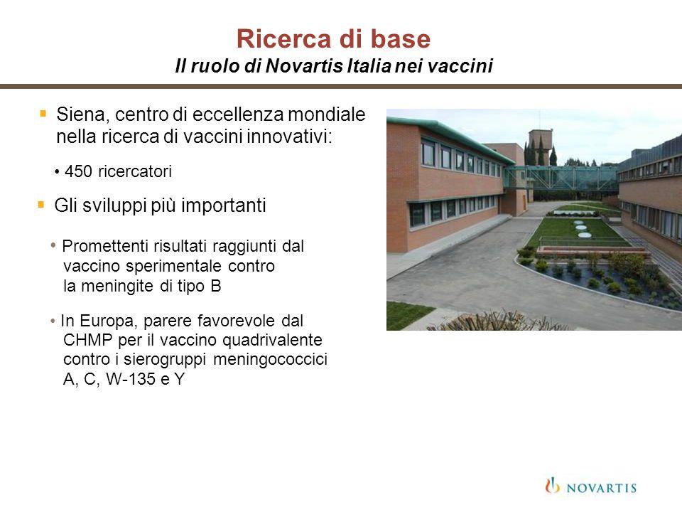 Ricerca di base Il ruolo di Novartis Italia nei vaccini Siena, centro di eccellenza mondiale nella ricerca di vaccini innovativi: Gli sviluppi più imp