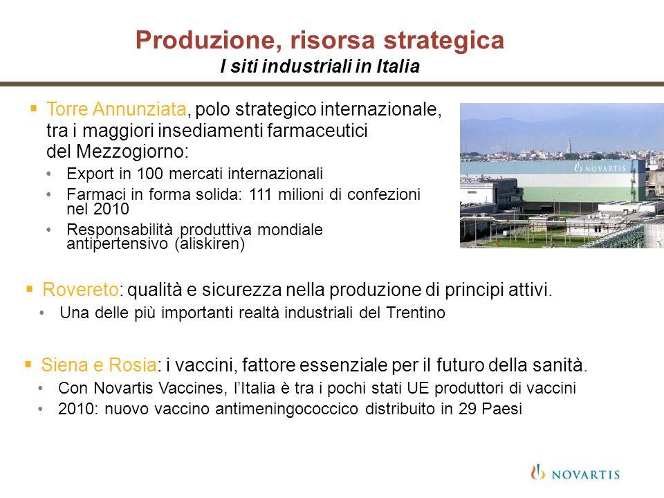 Produzione, risorsa strategica I siti industriali in Italia Torre Annunziata, polo strategico internazionale, tra i maggiori insediamenti farmaceutici