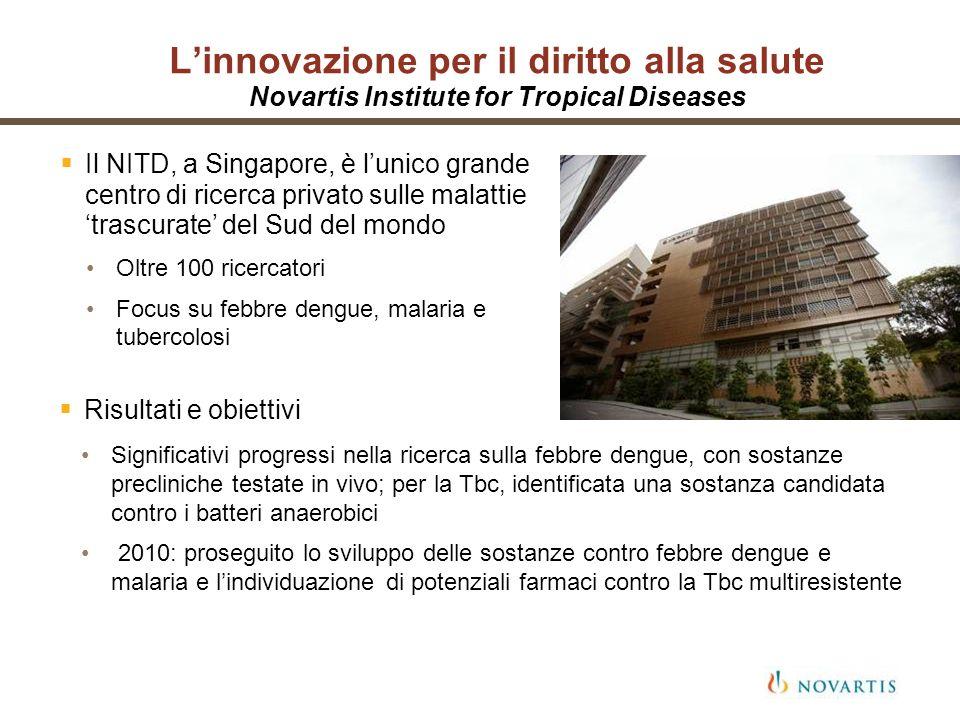 Linnovazione per il diritto alla salute Novartis Institute for Tropical Diseases Il NITD, a Singapore, è lunico grande centro di ricerca privato sulle
