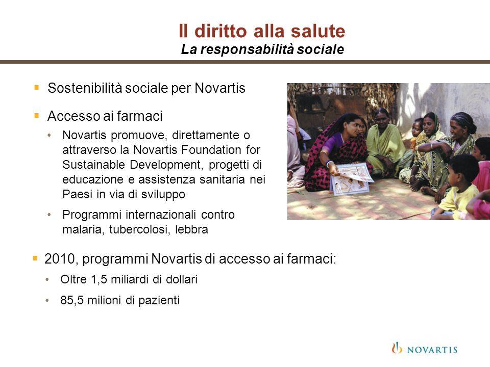 Il diritto alla salute La responsabilità sociale Sostenibilità sociale per Novartis Accesso ai farmaci 2010, programmi Novartis di accesso ai farmaci: