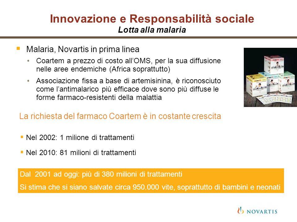 Innovazione e Responsabilità sociale Lotta alla malaria Malaria, Novartis in prima linea Coartem a prezzo di costo allOMS, per la sua diffusione nelle