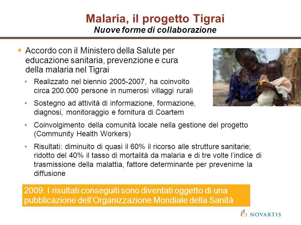 Malaria, il progetto Tigrai Nuove forme di collaborazione Accordo con il Ministero della Salute per educazione sanitaria, prevenzione e cura della mal