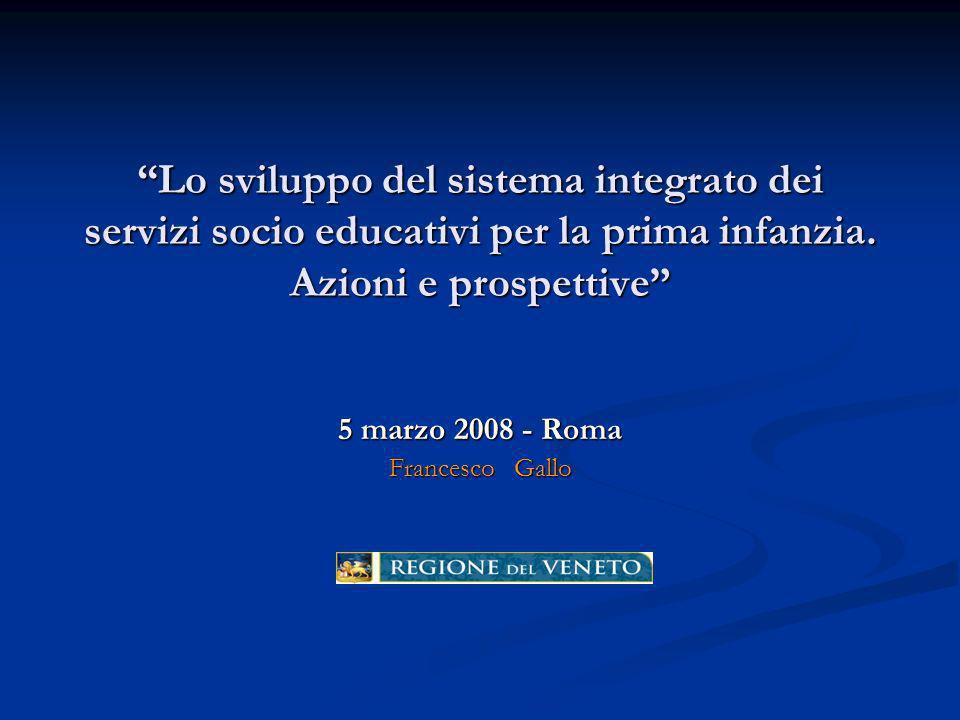 Lo sviluppo del sistema integrato dei servizi socio educativi per la prima infanzia.