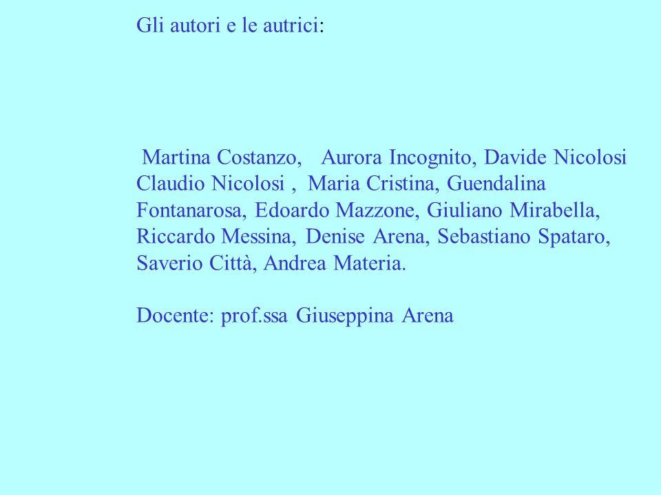 Gli autori e le autrici: Martina Costanzo, Aurora Incognito, Davide Nicolosi Claudio Nicolosi, Maria Cristina, Guendalina Fontanarosa, Edoardo Mazzone