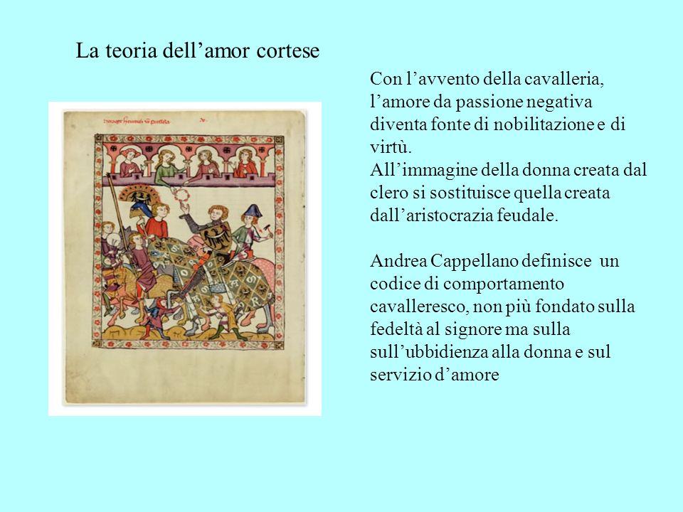 Con lavvento della cavalleria, lamore da passione negativa diventa fonte di nobilitazione e di virtù. Allimmagine della donna creata dal clero si sost