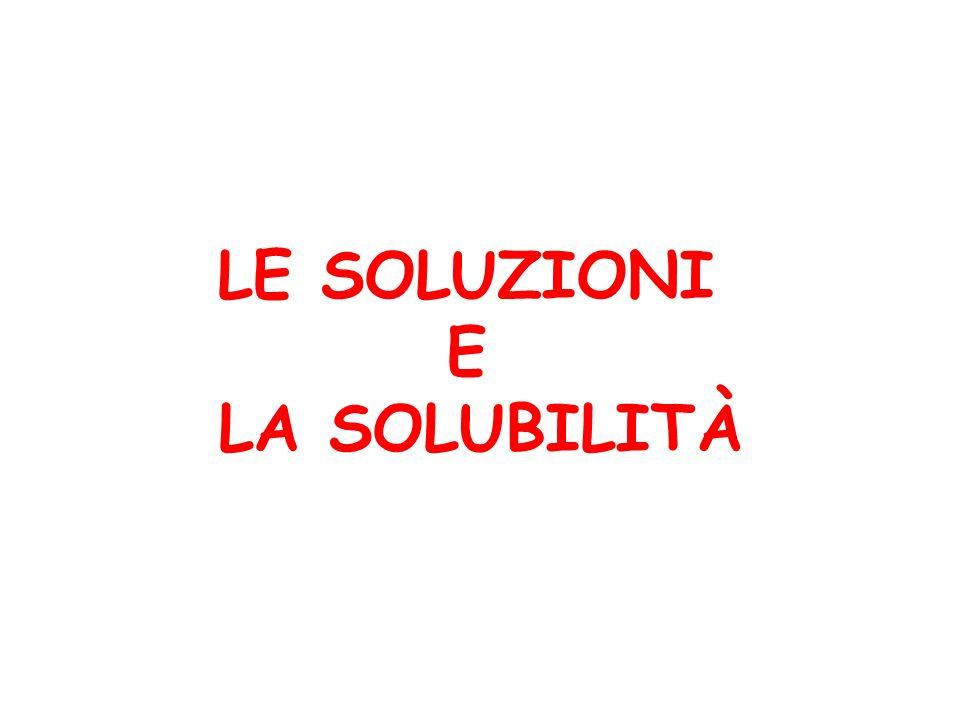 LE SOLUZIONI Le soluzioni che si usano nellanalisi sono: miscele solido/liquido miscele liquido/liquido miscele gas/liquido Il solvente più comune è lacqua.