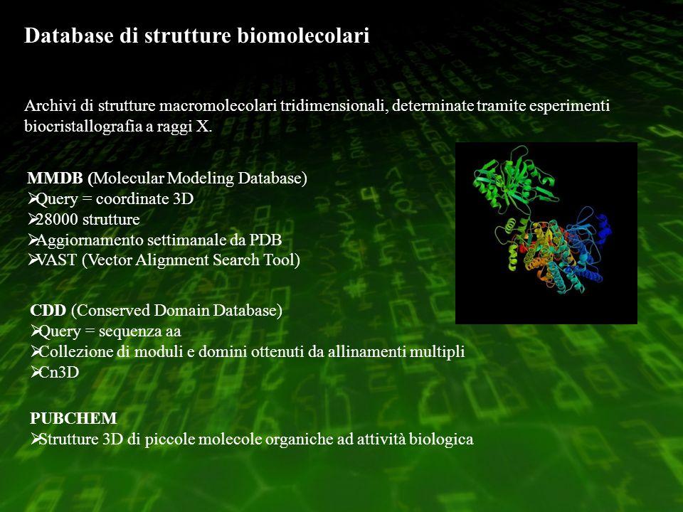 Database di strutture biomolecolari Archivi di strutture macromolecolari tridimensionali, determinate tramite esperimenti biocristallografia a raggi X.