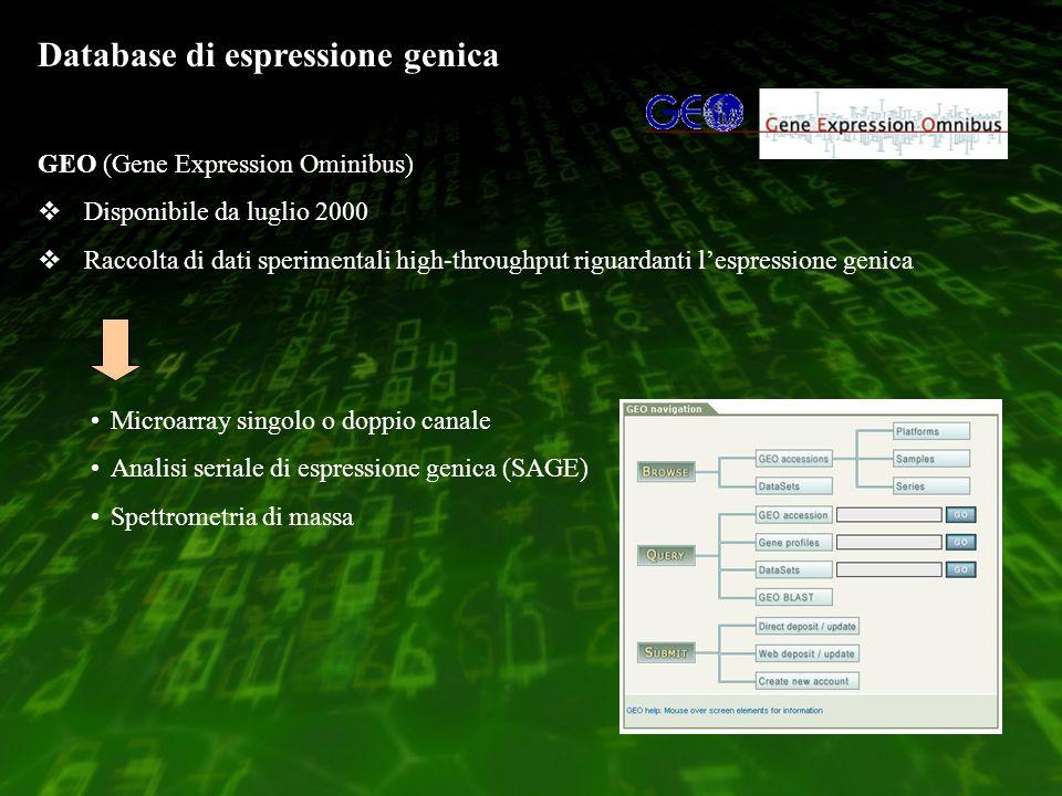 Database di espressione genica GEO (Gene Expression Ominibus) Disponibile da luglio 2000 Raccolta di dati sperimentali high-throughput riguardanti lespressione genica Microarray singolo o doppio canale Analisi seriale di espressione genica (SAGE) Spettrometria di massa
