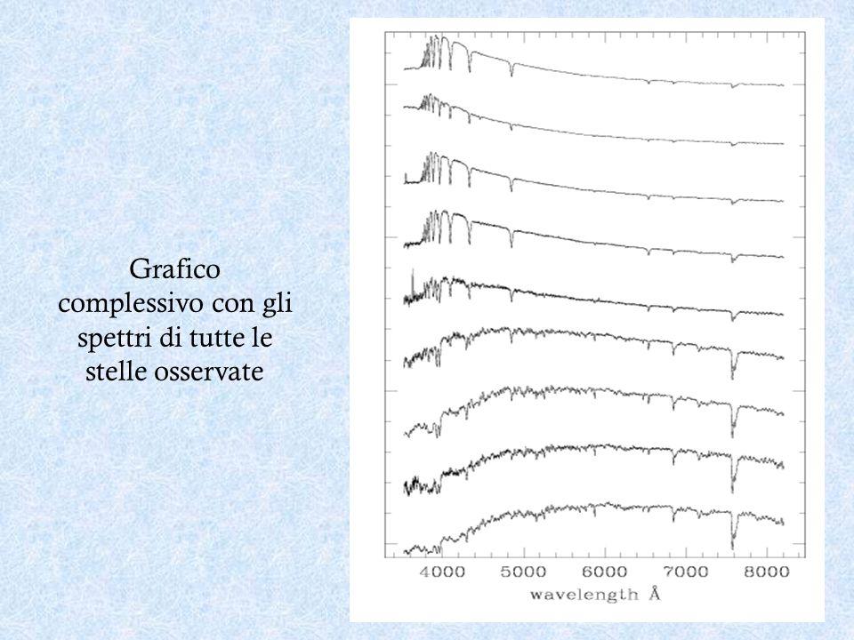 Grafico complessivo con gli spettri di tutte le stelle osservate