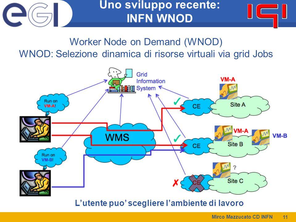 Mirco Mazzucato CD INFN 11 Uno sviluppo recente: INFN WNOD Worker Node on Demand (WNOD) WNOD: Selezione dinamica di risorse virtuali via grid Jobs Lutente puo scegliere lambiente di lavoro