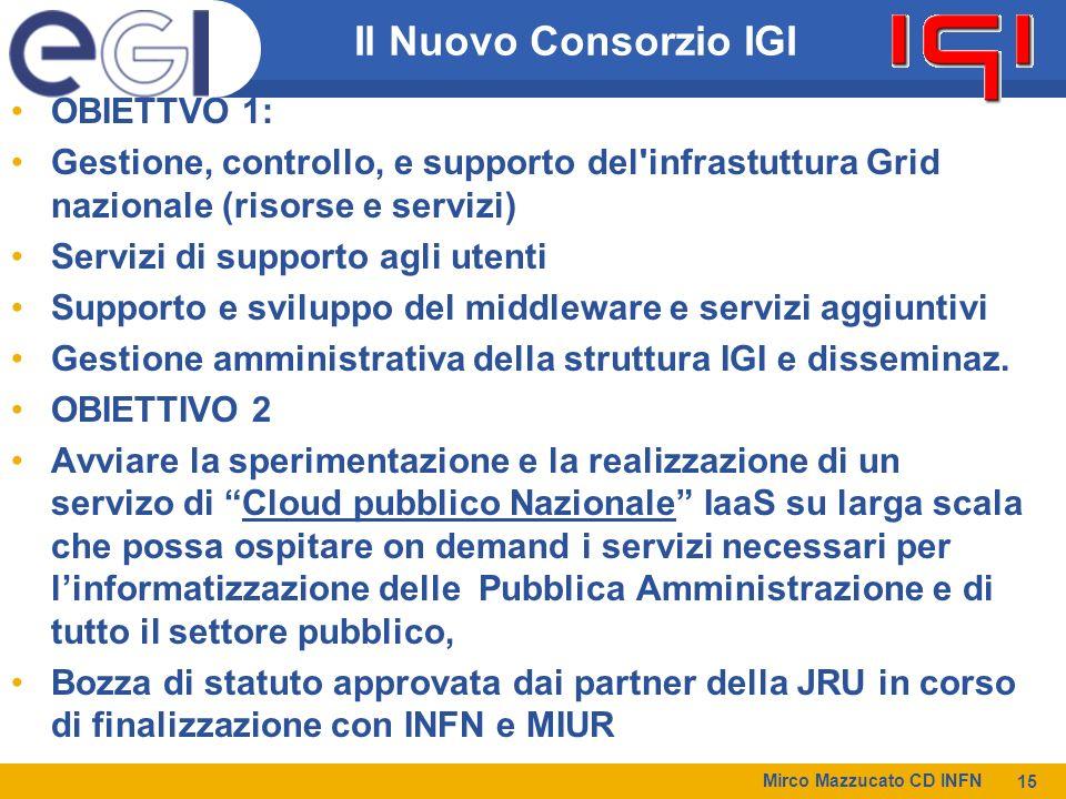 Il Nuovo Consorzio IGI OBIETTVO 1: Gestione, controllo, e supporto del infrastuttura Grid nazionale (risorse e servizi) Servizi di supporto agli utenti Supporto e sviluppo del middleware e servizi aggiuntivi Gestione amministrativa della struttura IGI e disseminaz.